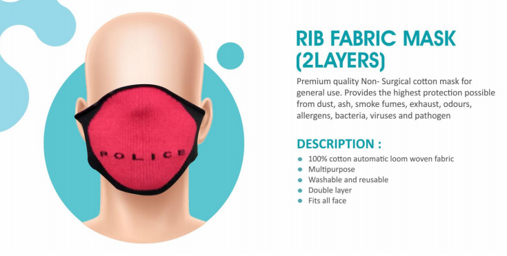 2 Layer Non-surgical rib fabric face mask