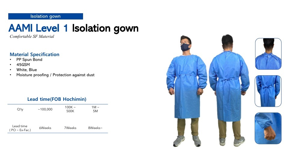 AAMI Level-1 isolation Gown features
