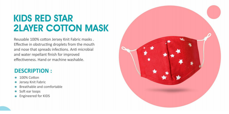 kids red star cotton mask 2 layer